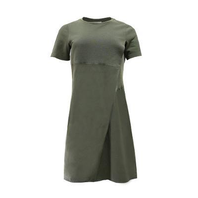 simple wrap midi dress khaki